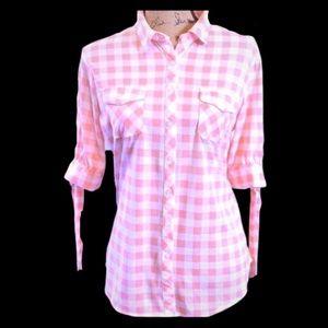 💥HP💥 Eden & Olivia Pink White Short Sleeve Top *
